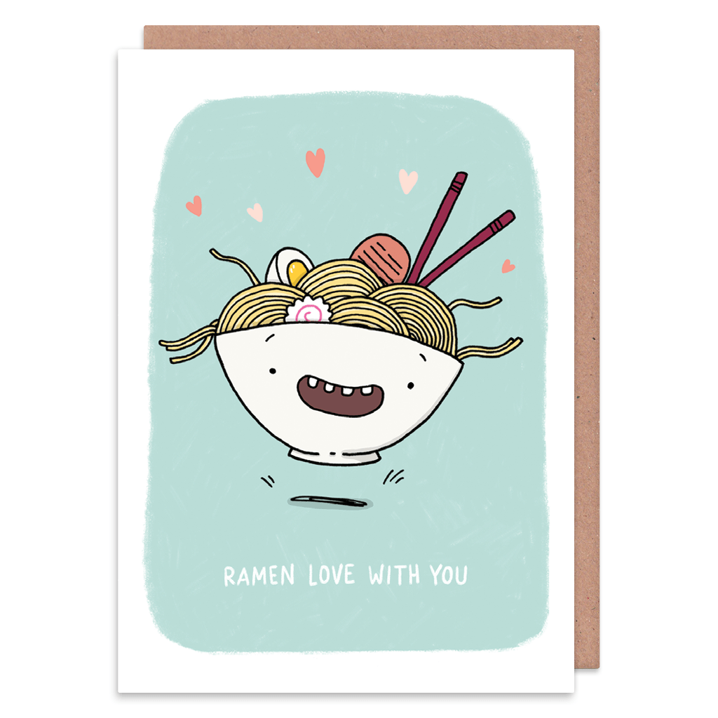 Ramen Love Noodles Greeting Card by Camille Medina - Whale and Bird