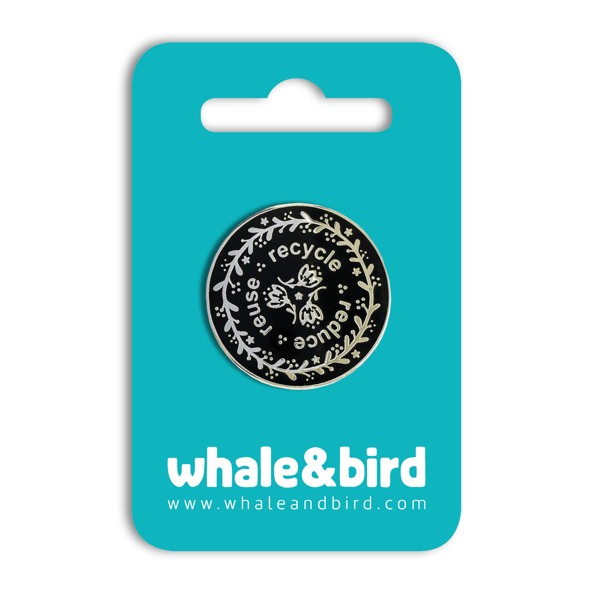 Reduce, Reuse, Recycle Hard Enamel Pin by Mary Joy Harris - Whale and Bird