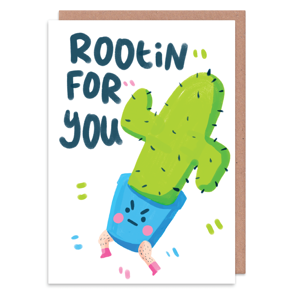 Rootin For You Cactus Good Luck Card by The Happy Chappo - Whale and Bird
