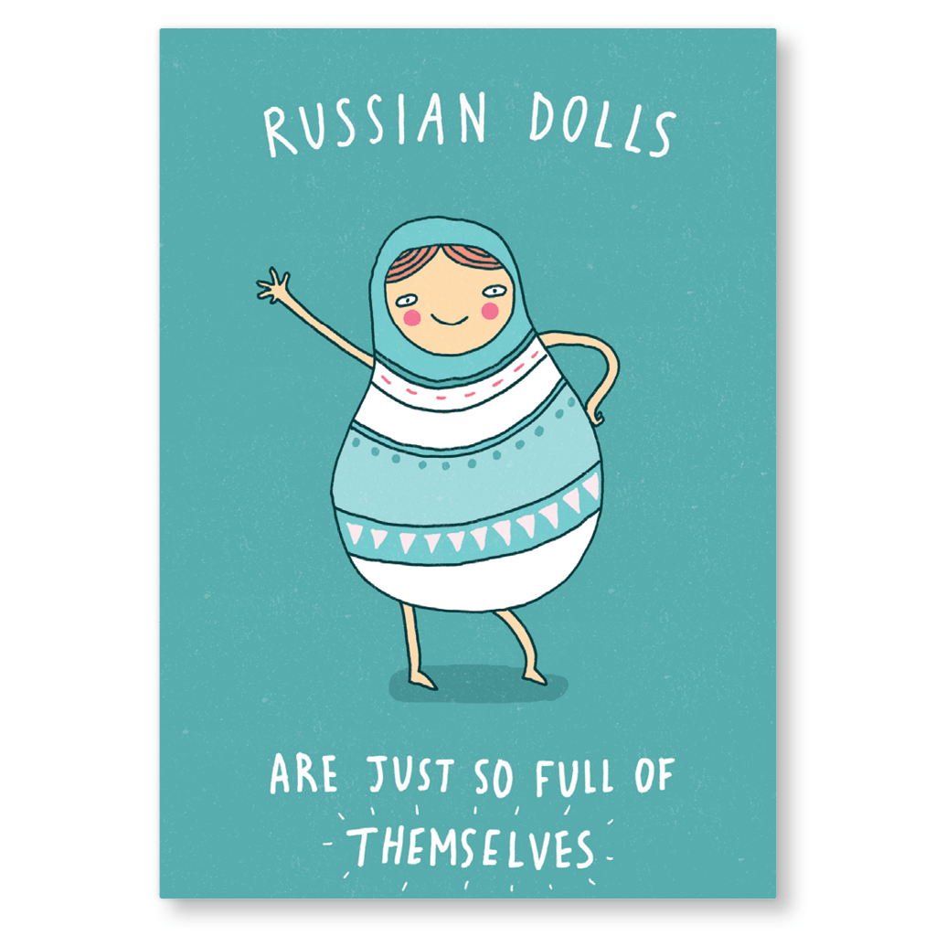 Russian Dolls Are So Full Of Themselves Postcard by Charly Clements - Whale and Bird