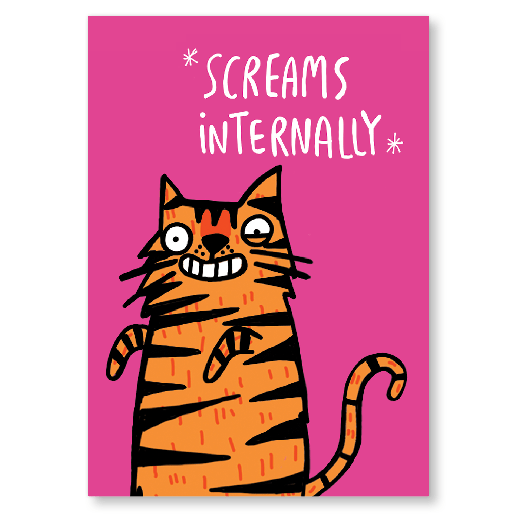 Screams Internally Postcard by Katie Abey - Whale and Bird