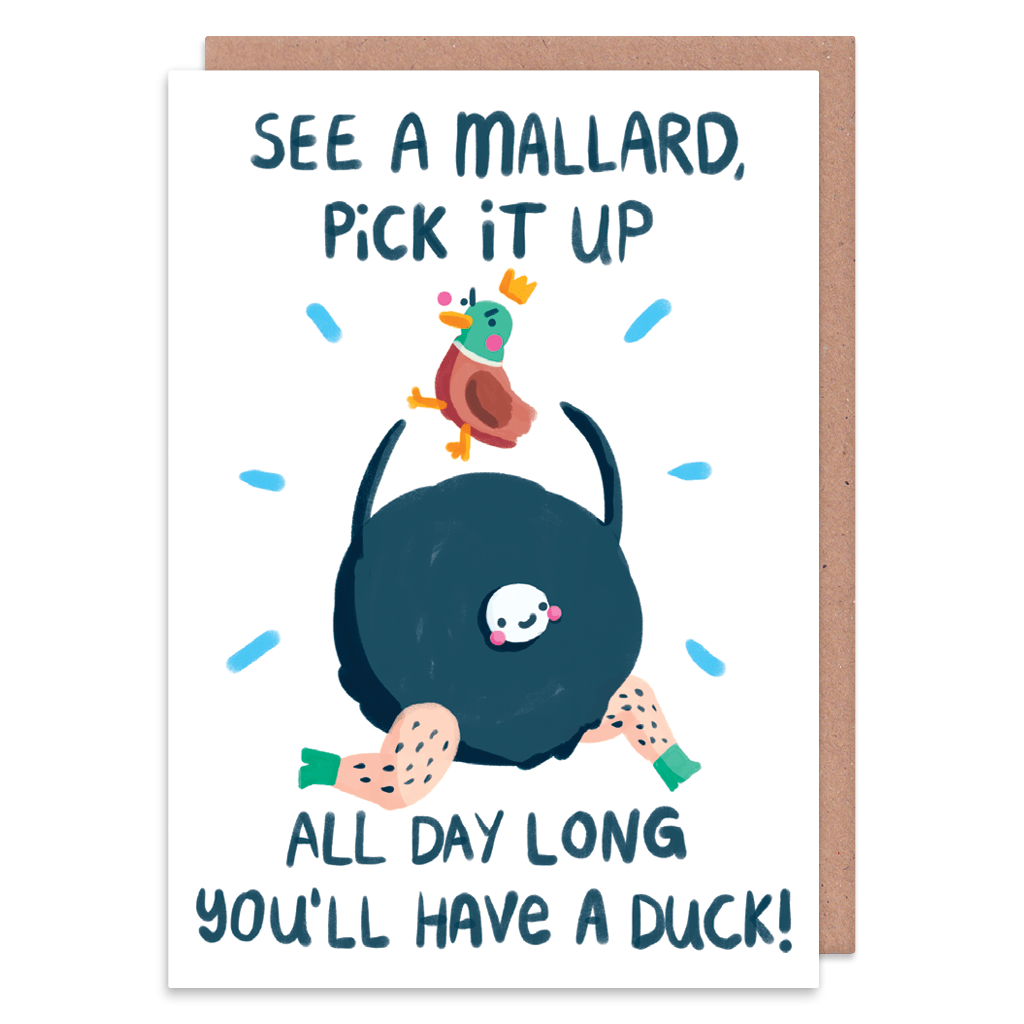 See A Mallard Pick It Up Greeting Card by The Happy Chappo - Whale and Bird