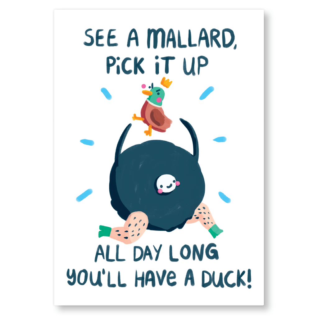 See A Mallard Pick It Up Postcard by The Happy Chappo - Whale and Bird