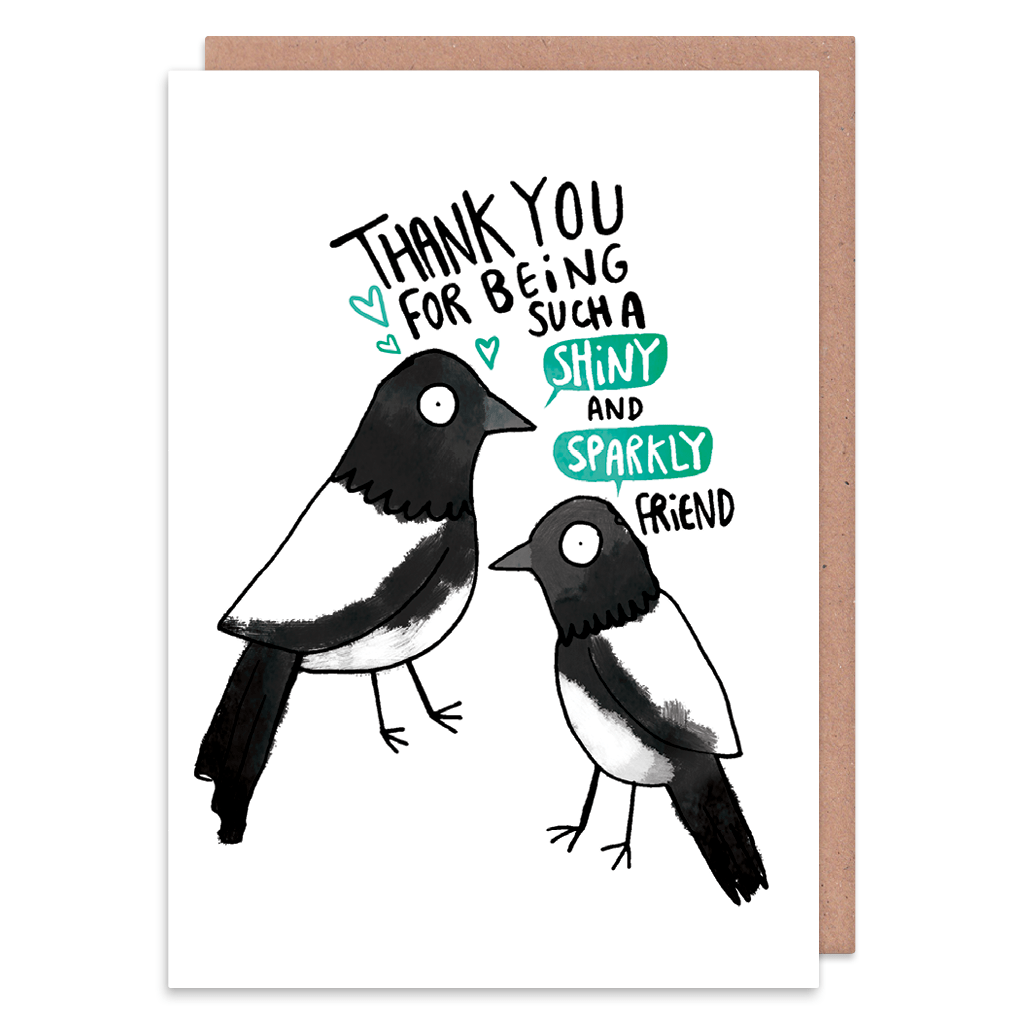 Thank You For Being Such A Shiny And Sparkly Friend Greeting Card by Katie Abey - Whale and Bird