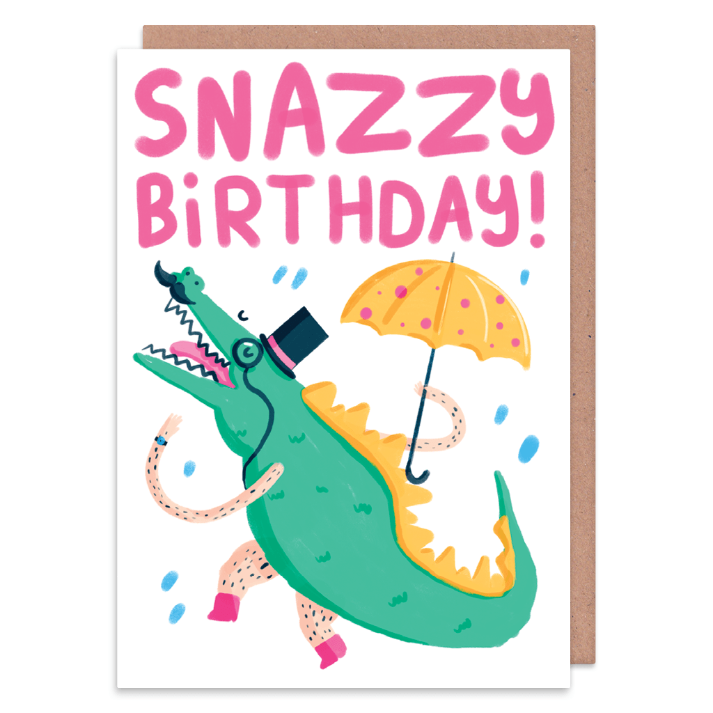 Snazzy Birthday Crocodile Birthday Card by The Happy Chappo - Whale and Bird