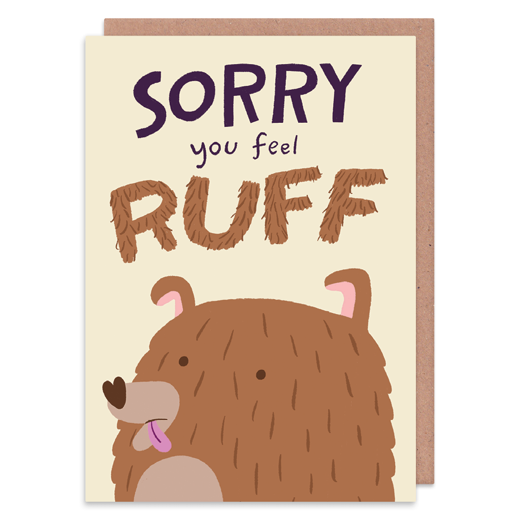 Sorry You Feel Ruff Get Well Soon Card by Lisa Greener - Whale and Bird
