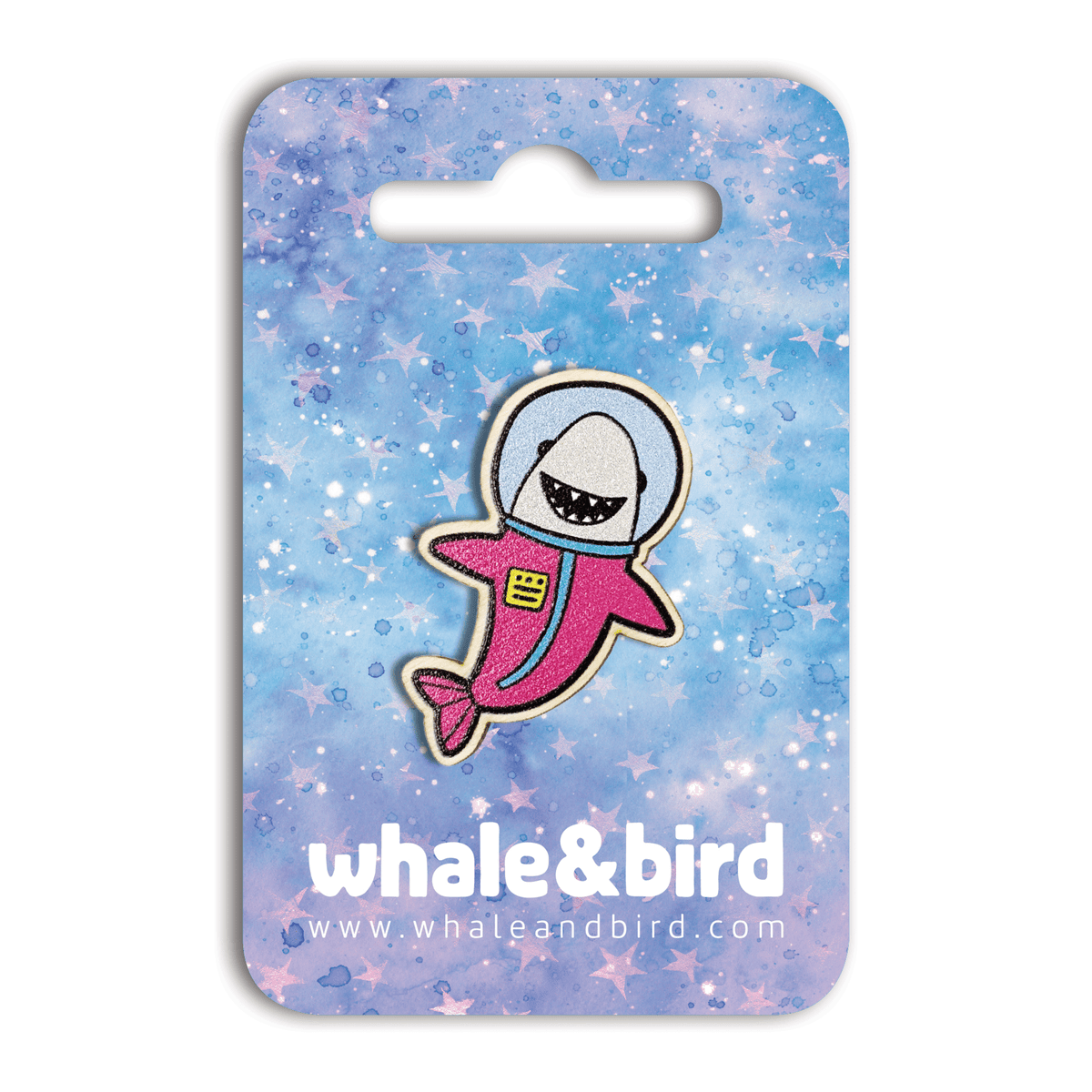 Space Shark Hard Enamel Pin by Anna Alekseeva - Whale and Bird