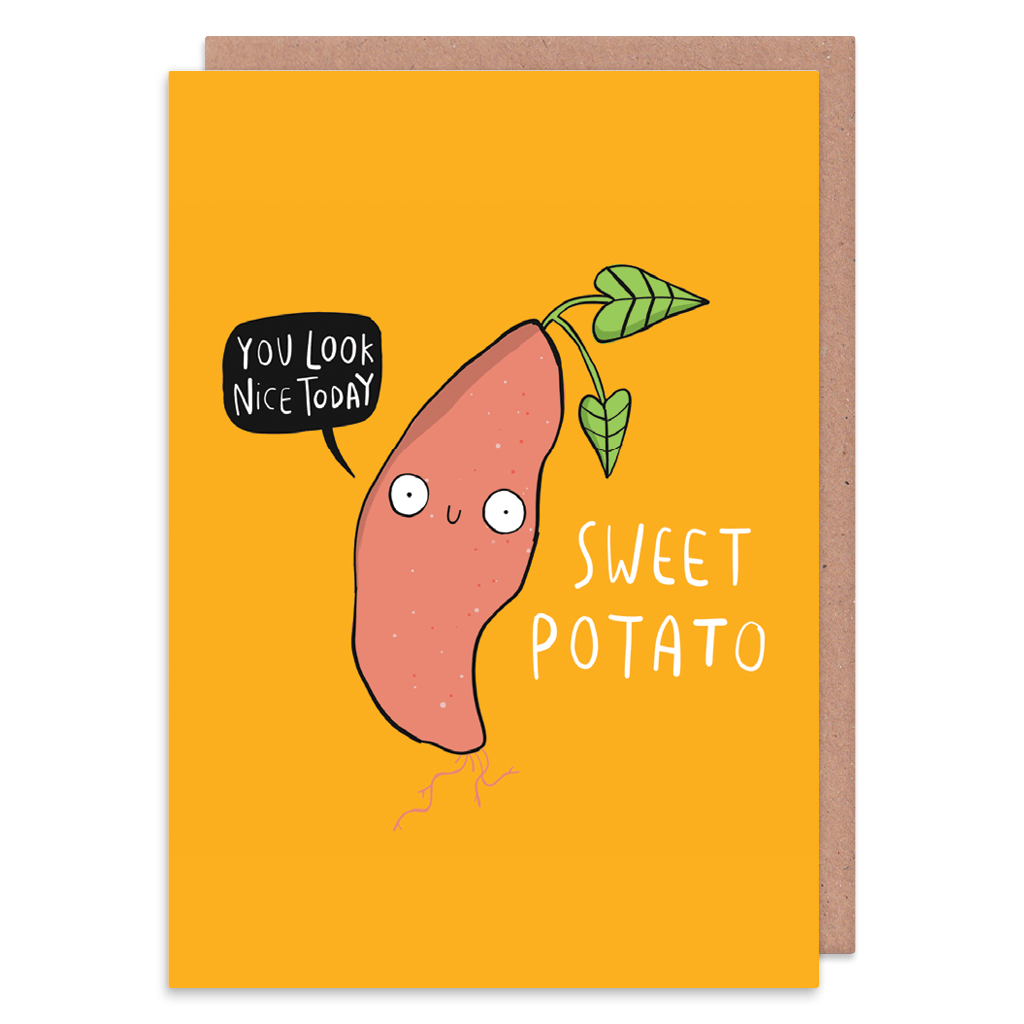 Sweet Potato Greeting Card by Katie Abey - Whale and Bird