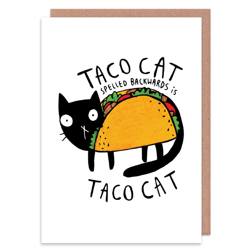 Taco Cat Greeting Card by Katie Abey - Whale and Bird