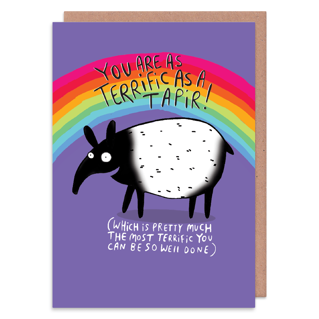 You Are As Terrific As A Tapir Greeting Card by Katie Abey - Whale and Bird