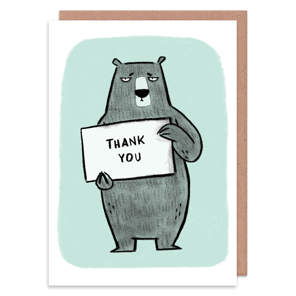 Thank You Sign Grumpy Bear Thank You Card by Camille Medina - Whale and Bird