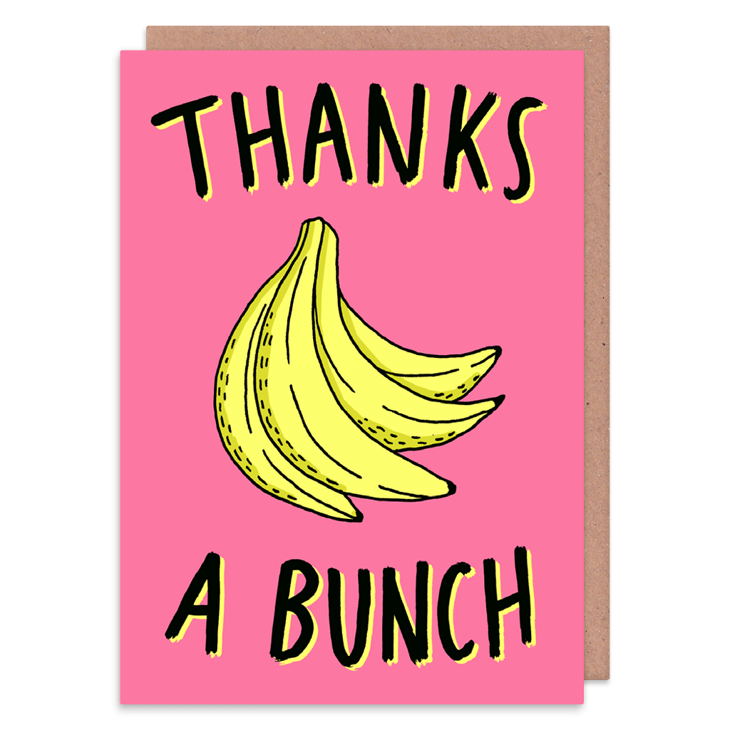 Thanks A Bunch Banana Thank You Card by Charly Clements - Whale and Bird