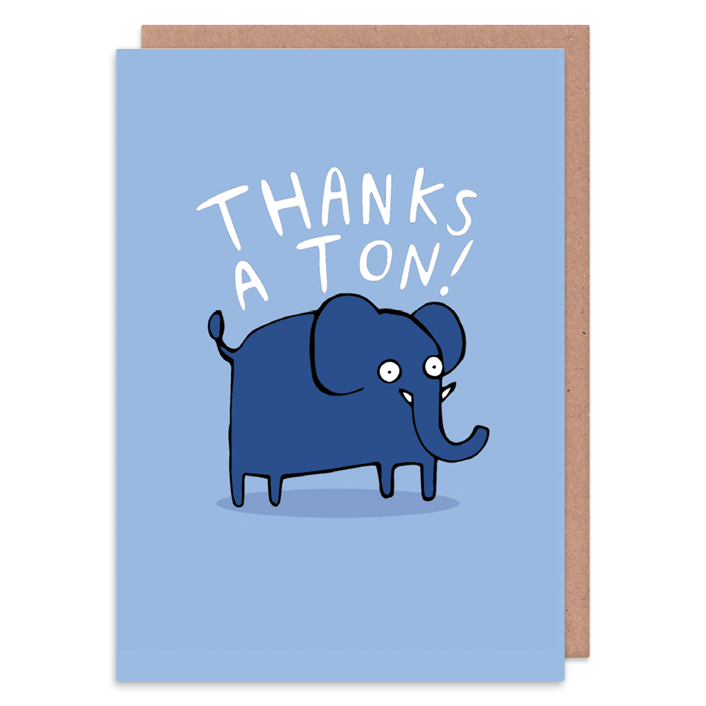 Thanks A Ton Thank You Card by Katie Abey - Whale and Bird