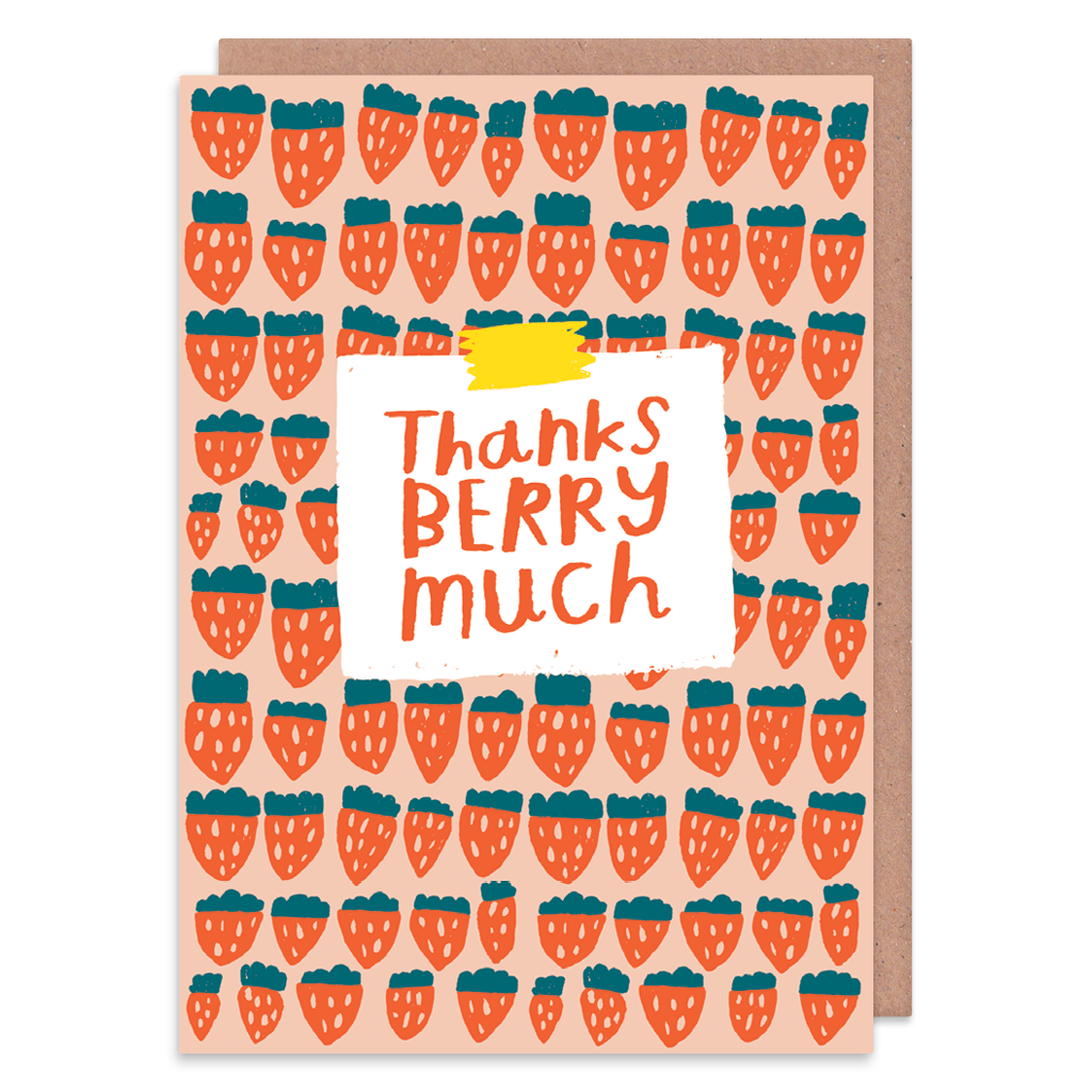Thanks Berry Much Greeting Card by Nikki Miles - Whale and Bird