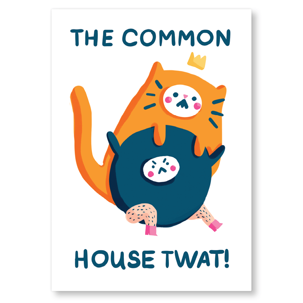 The Common House Twat Postcard by The Happy Chappo - Whale and Bird