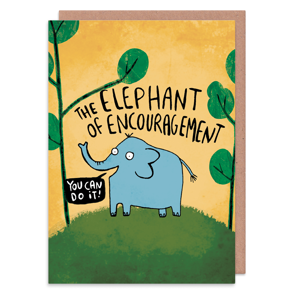 The Elephant Of Encouragement Greeting Card by Katie Abey - Whale and Bird