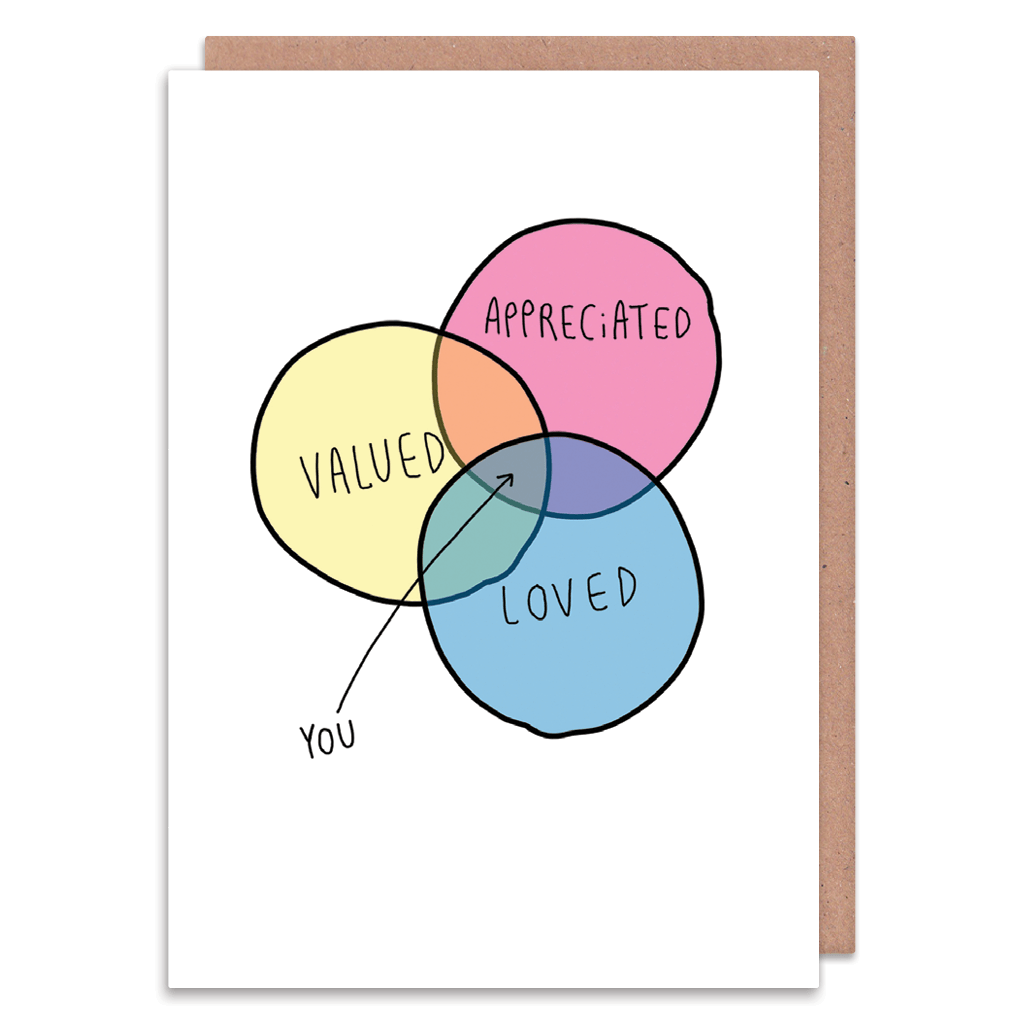 The Venn Diagram Of You Greeting Card by Katie Abey - Whale and Bird