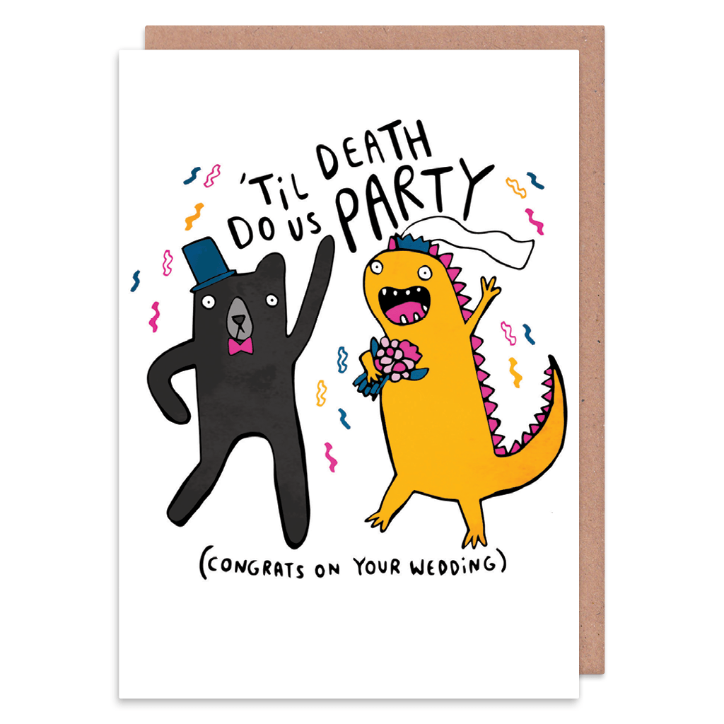 Til Death Do Us Party Wedding Card by Katie Abey - Whale and Bird