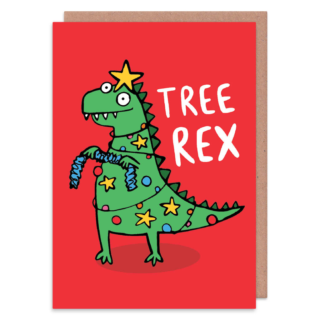 Tree Rex Christmas Card by Katie Abey - Whale and Bird