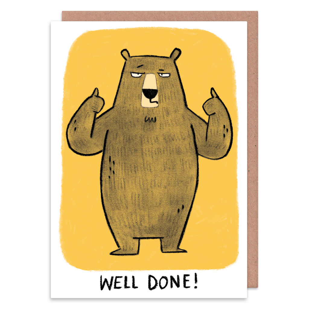 Two Thumbs Up Grumpy Bear Congratulations Card by Camille Medina - Whale and Bird
