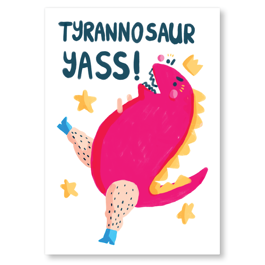 Tyrannosaur Yass! Postcard by The Happy Chappo - Whale and Bird
