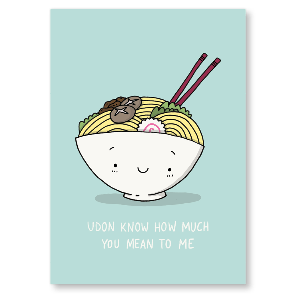 Udon Know How Much You Mean To Me Noodles Postcard by Camille Medina - Whale and Bird