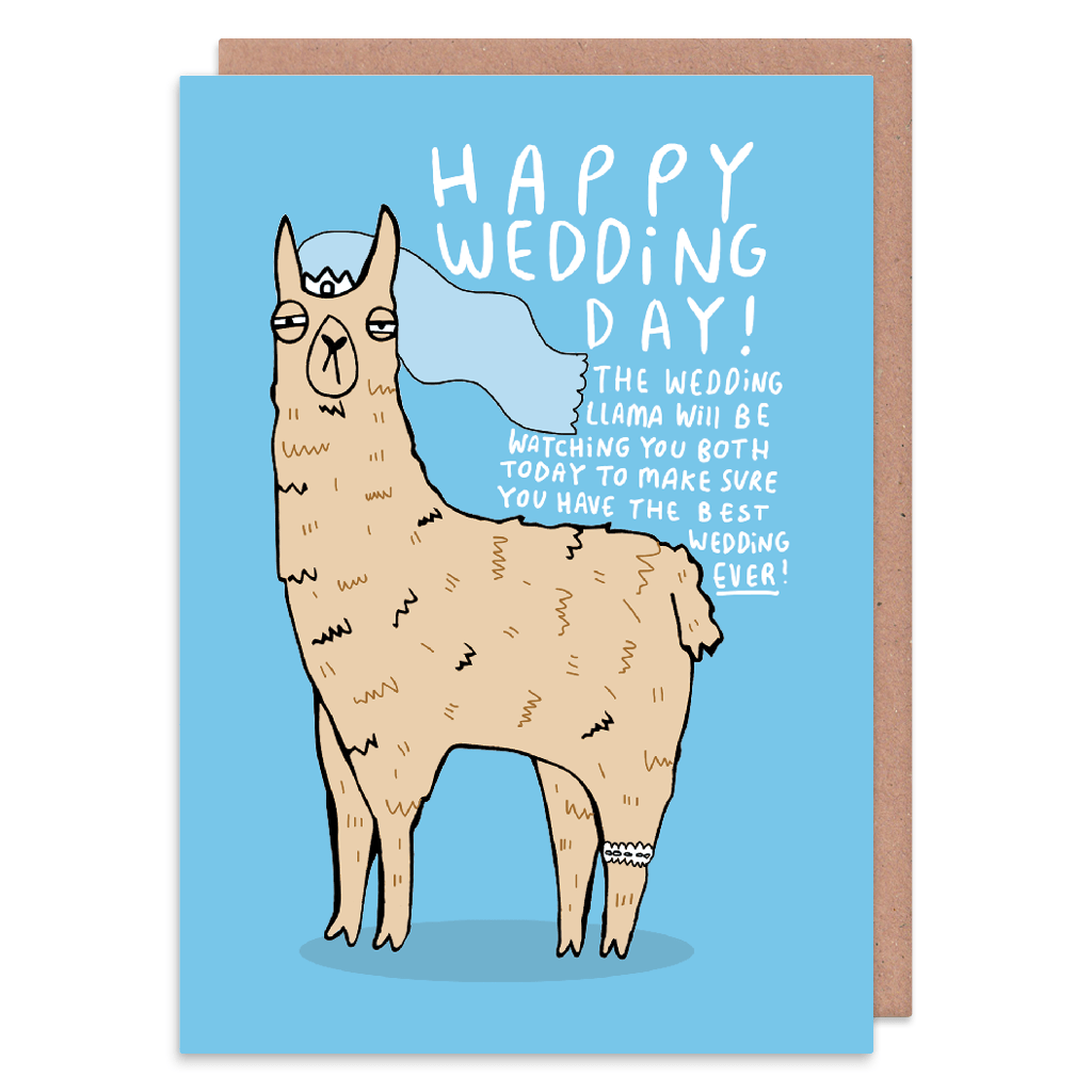 The Wedding Llama Wedding Card by Katie Abey - Whale and Bird