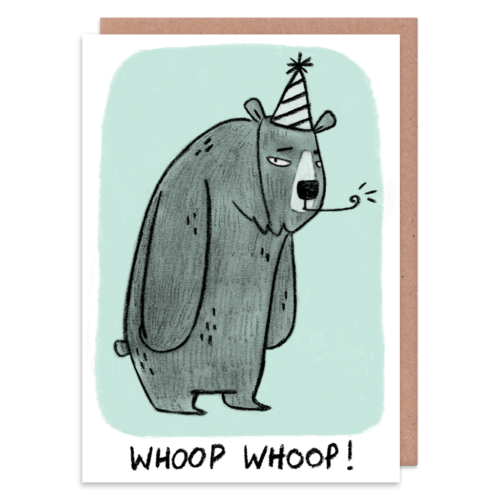 Whoop Whoop Grumpy Bear Greeting Card by Camille Medina - Whale and Bird
