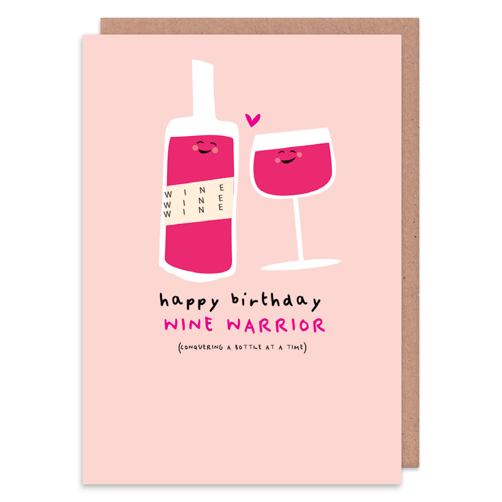 Wine Warrior Birthday Card by Ooh I Like That - Whale and Bird