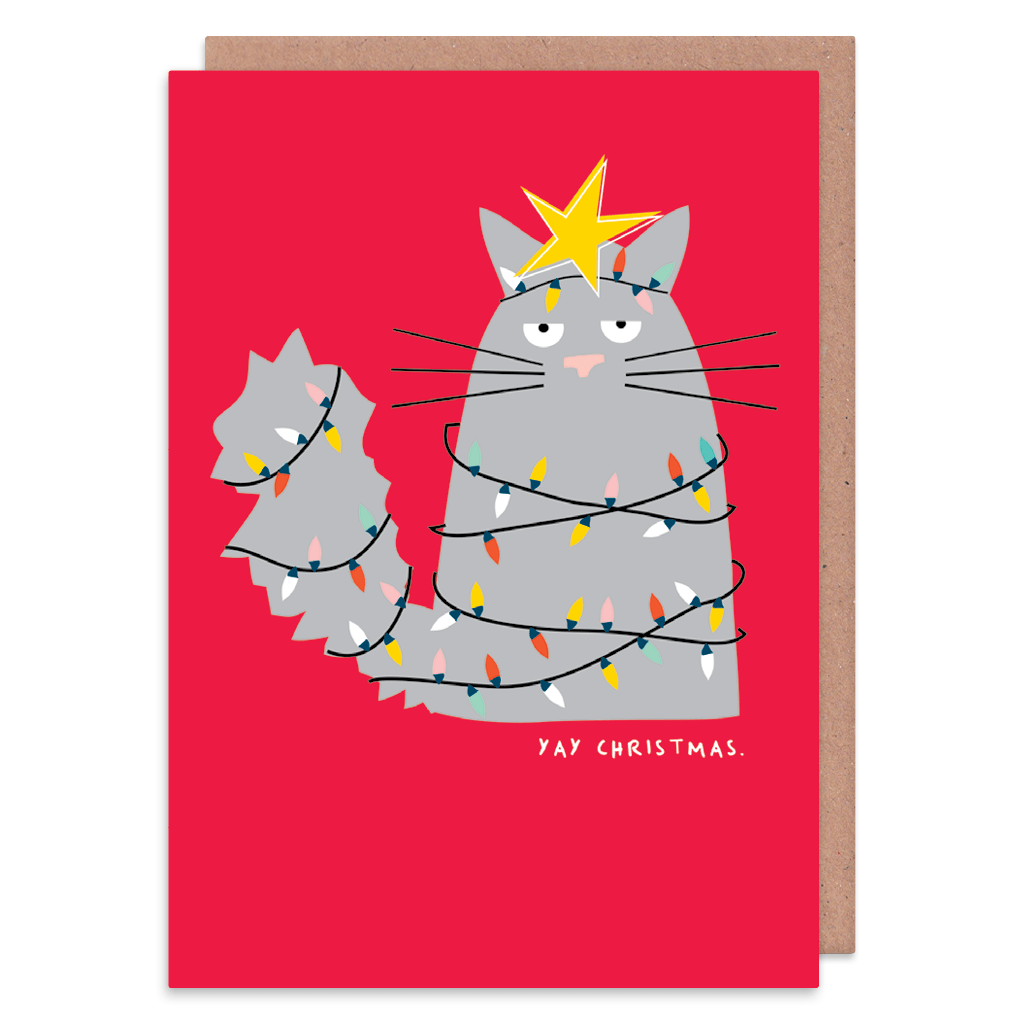 Yay Christmas Cat Christmas Card by Ooh I Like That - Whale and Bird