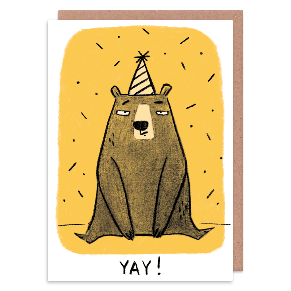 Yay Grumpy Bear Greeting Card by Camille Medina - Whale and Bird