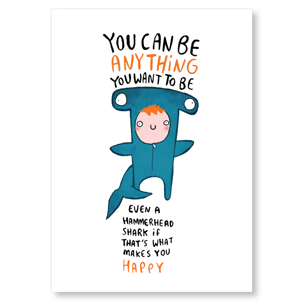 You Can Be Anything You Want To Be Postcard by Katie Abey - Whale and Bird