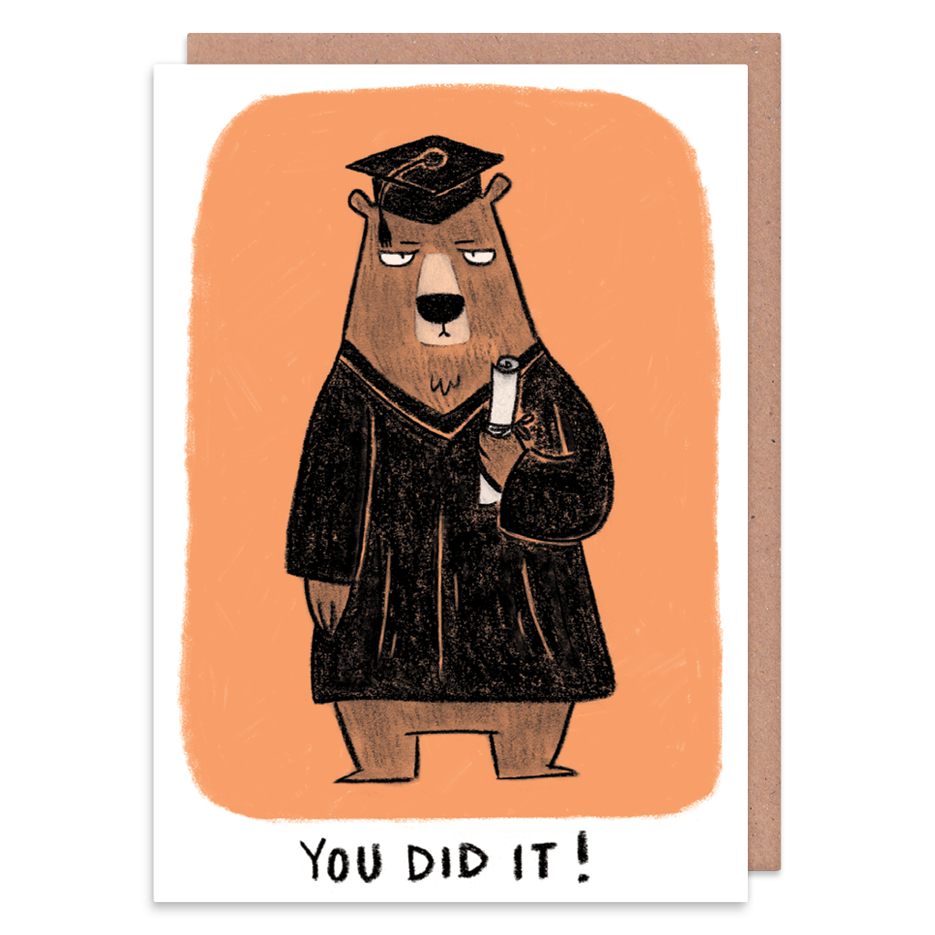 You Did It! Grumpy Bear Graduation Card by Camille Medina - Whale and Bird