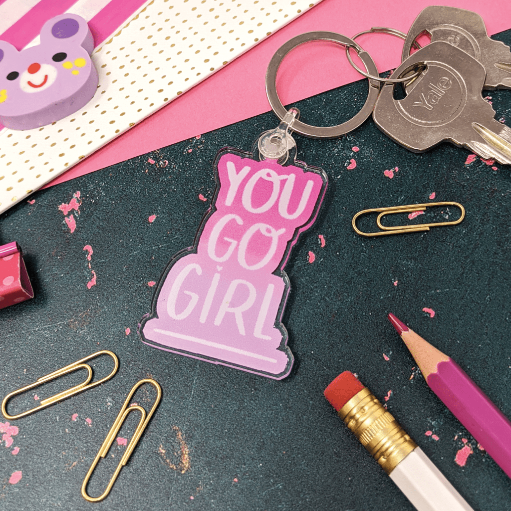 You Go Girl Motivational Keyring by Nutmeg and Arlo - Whale and Bird