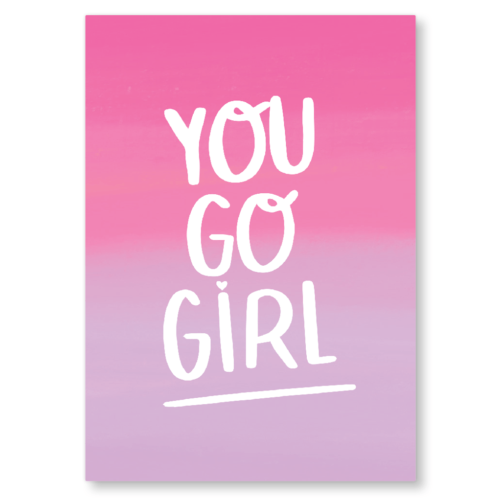 You Go Girl Postcard by Nutmeg and Arlo - Whale and Bird