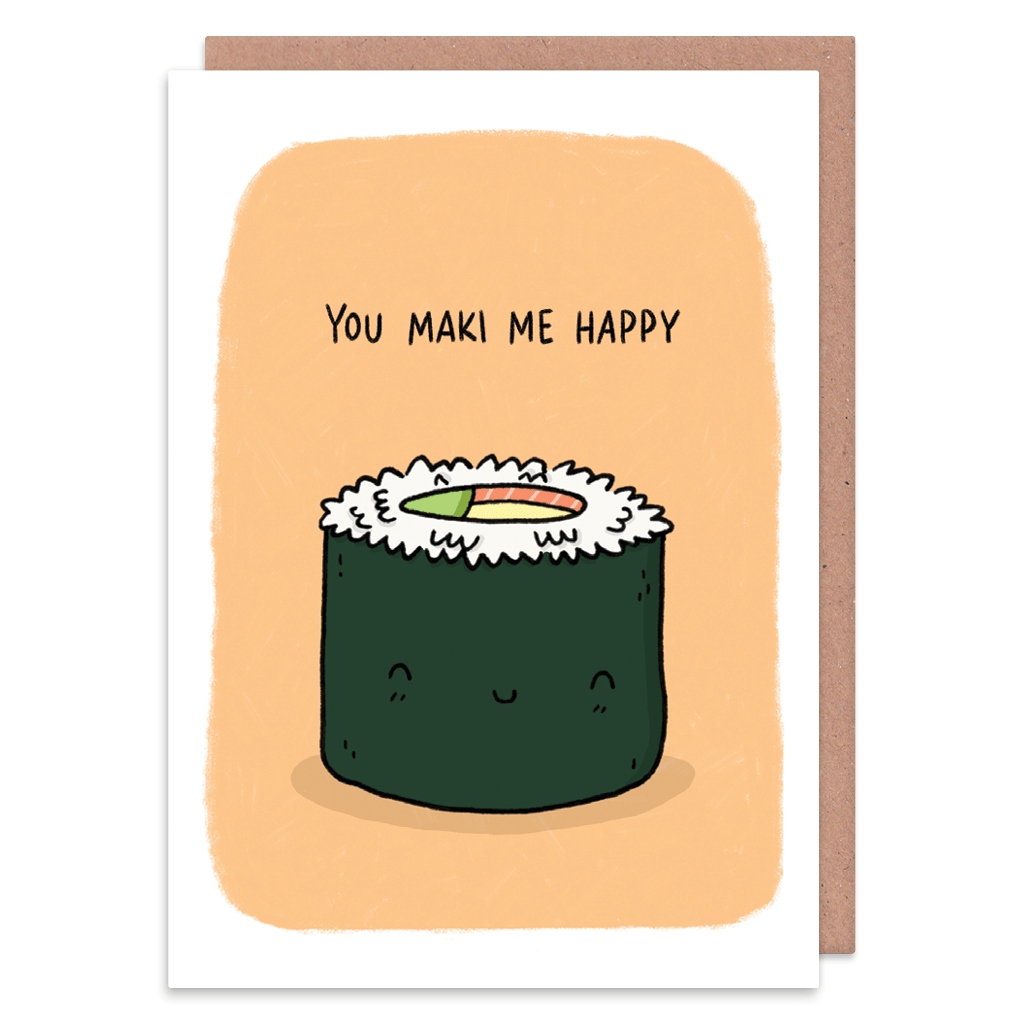 You Maki Me Happy Sushi Greeting Card by Camille Medina - Whale and Bird