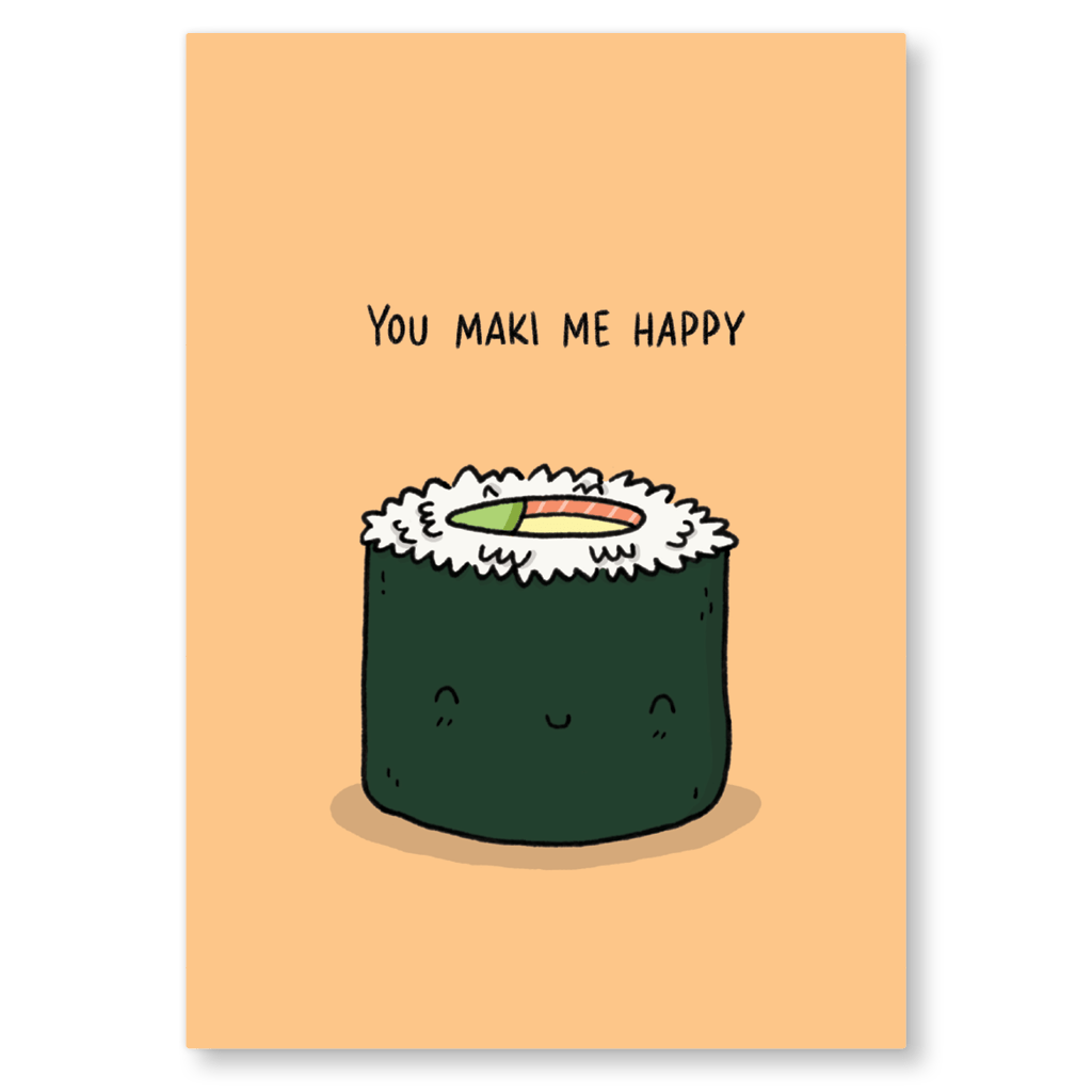 You Maki Me Happy Sushi Postcard by Camille Medina - Whale and Bird