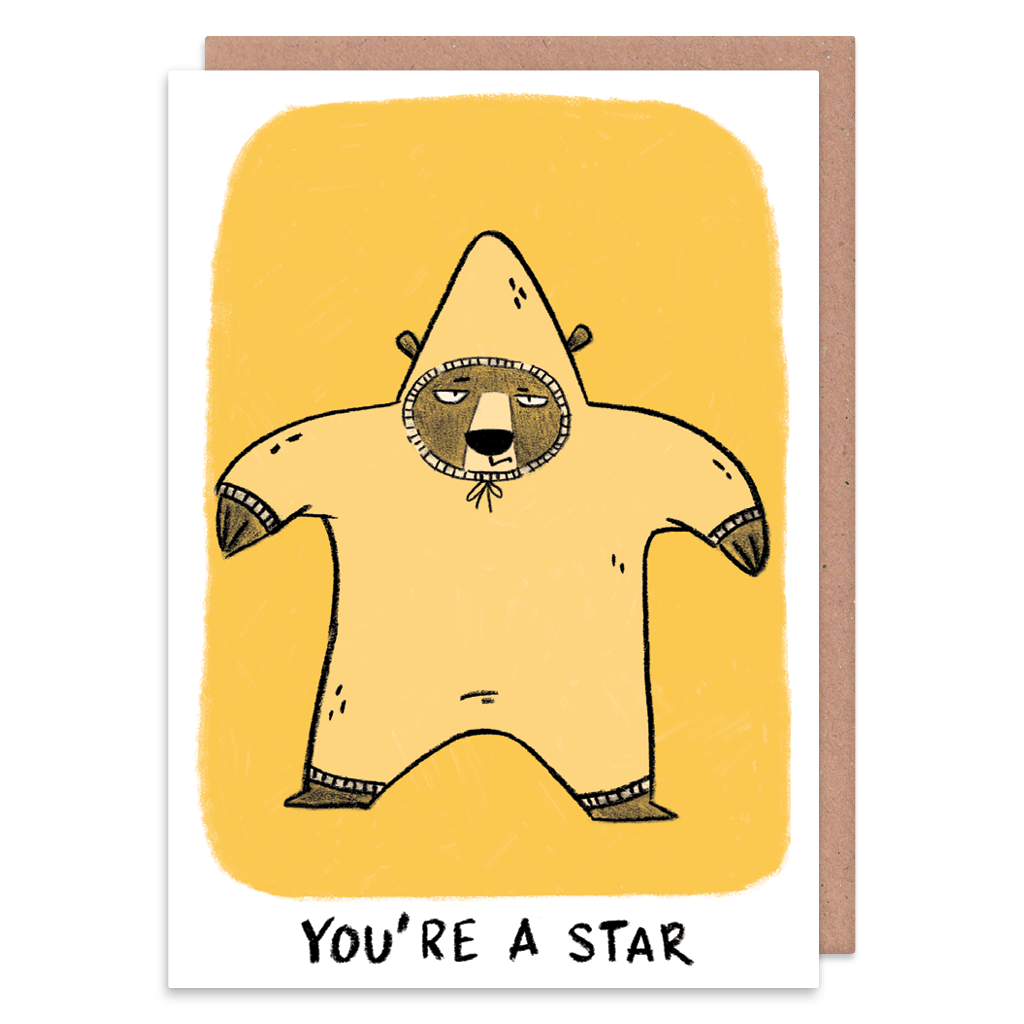 You're A Star Grumpy Bear Greeting Card by Camille Medina - Whale and Bird