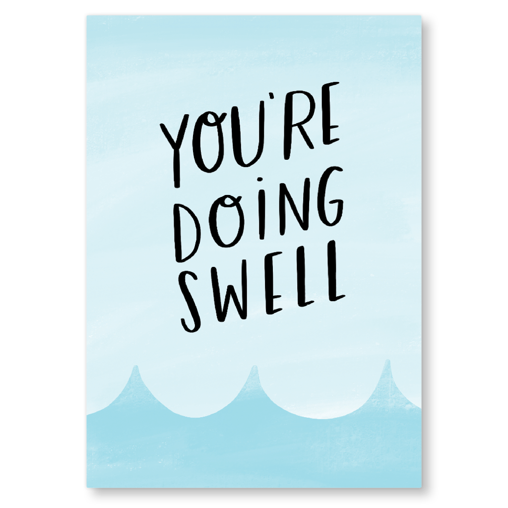 You're Doing Swell Postcard by Nutmeg and Arlo - Whale and Bird
