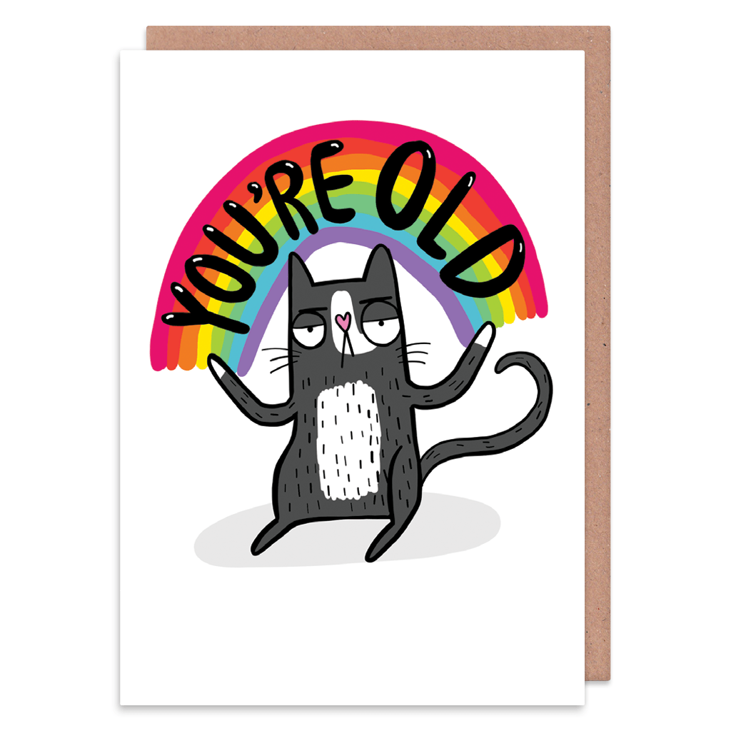 You're Old Rainbow Cat Birthday Card by Katie Abey - Whale and Bird