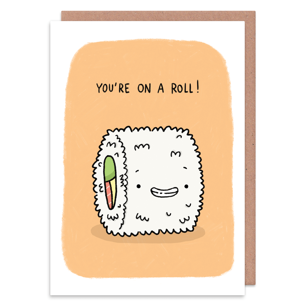 You're On a Roll Sushi Congratulations Card by Camille Medina - Whale and Bird