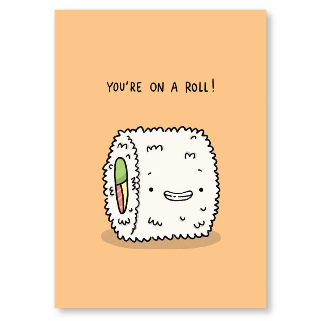 You're On A Roll Sushi Postcard by Camille Medina - Whale and Bird