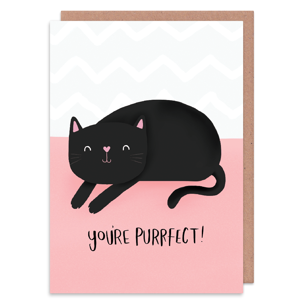 You're Purrfect Greeting Card by Nutmeg and Arlo - Whale and Bird
