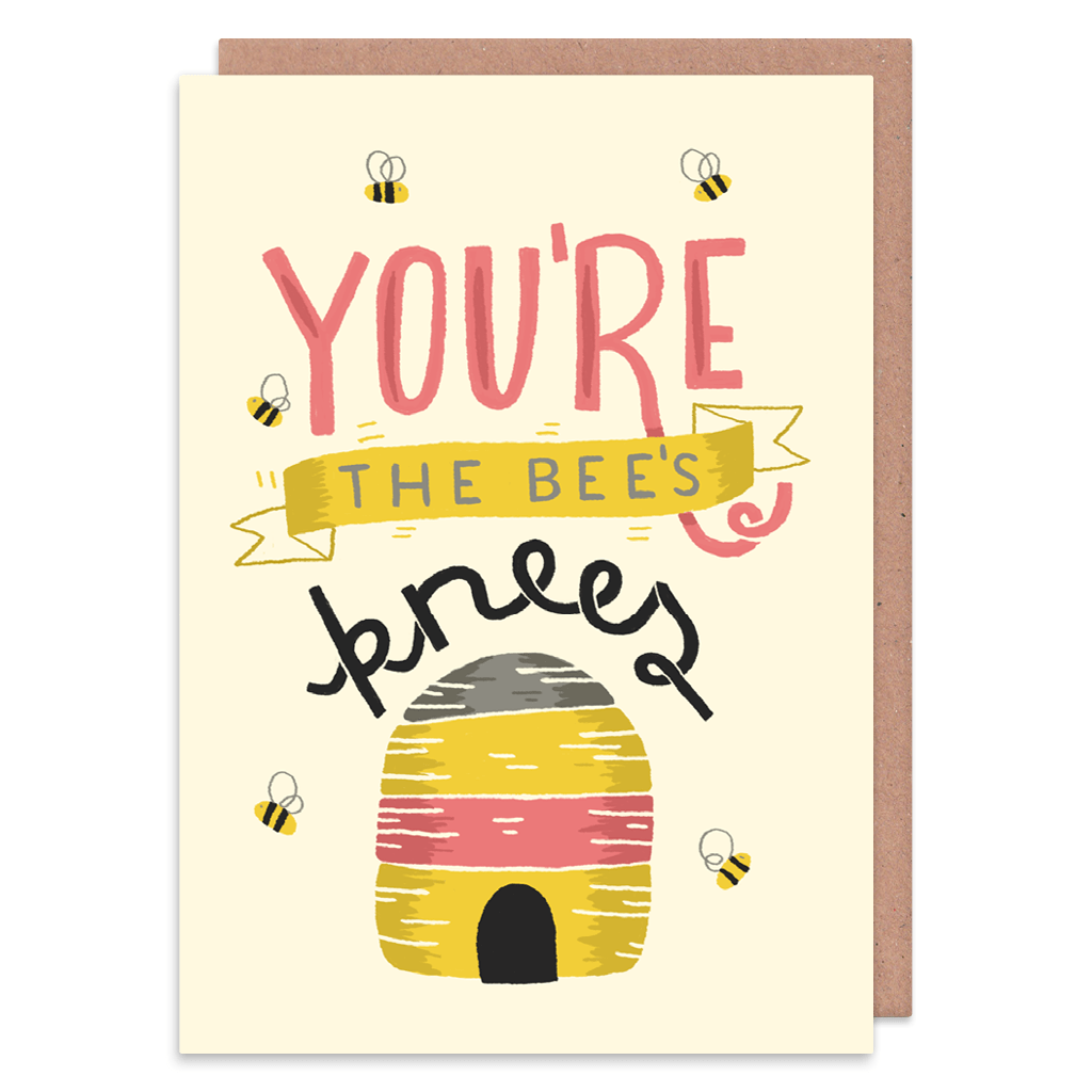 You're The Bee's Knees Greeting Card by The Happy Pencil - Whale and Bird