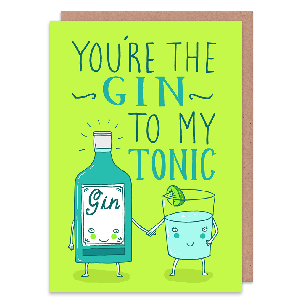 You're The Gin To My Tonic Greeting Card by Charly Clements - Whale and Bird