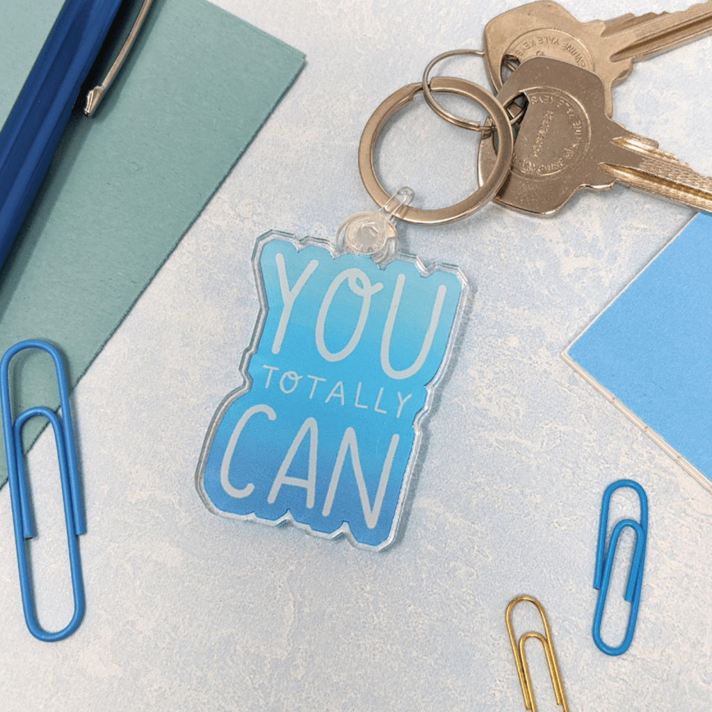You Totally Can Motivational Keyring by Nutmeg and Arlo - Whale and Bird