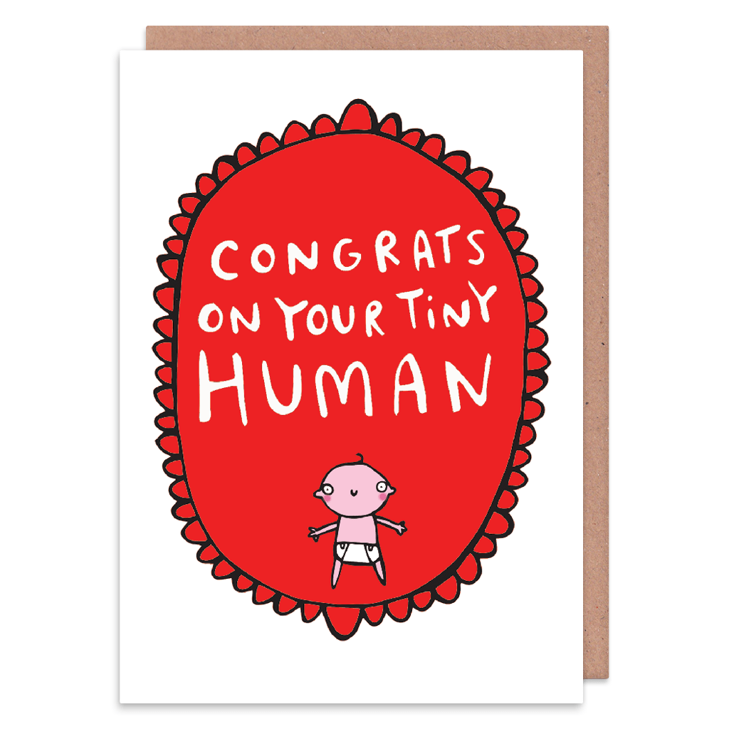 Congrats On Your Tiny Human New Baby Card by Katie Abey - Whale and Bird