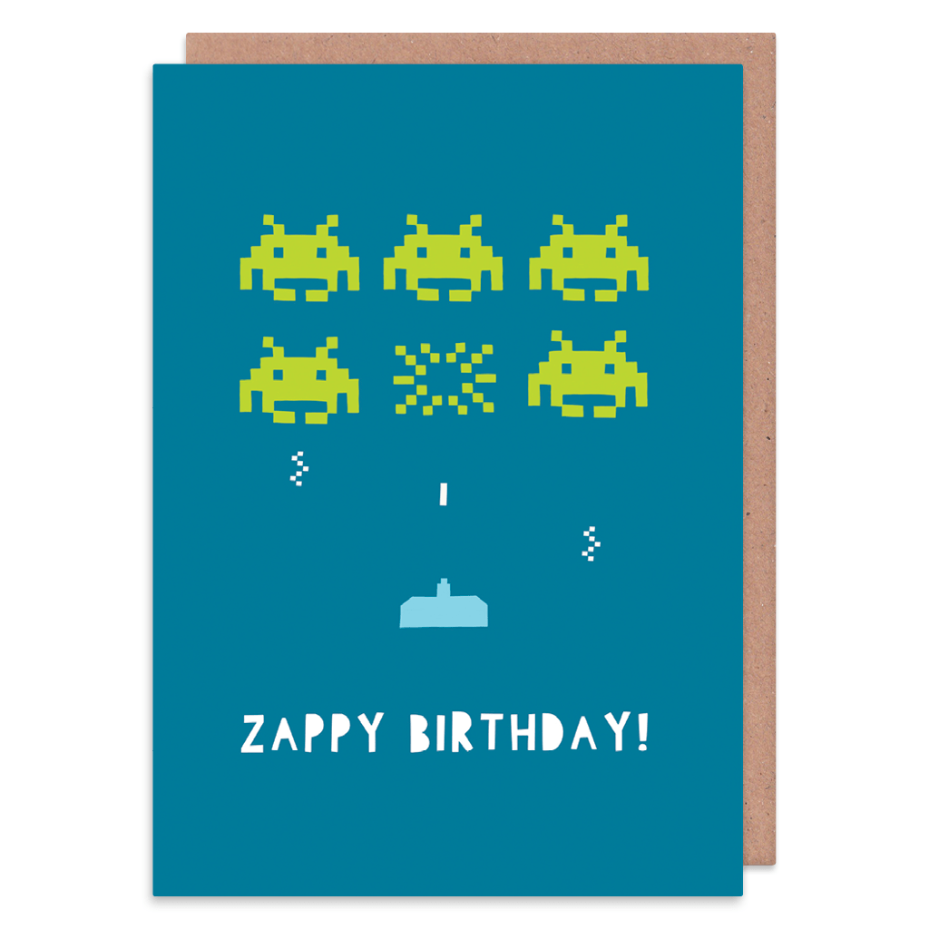 Zappy Birthday Space Invaders Birthday Card by Zoe Spry - Whale and Bird