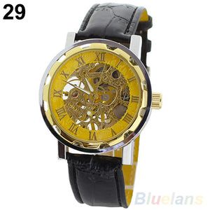 Men's Rectangle Casual Watch Mechanical Business Leather Wrist Watches