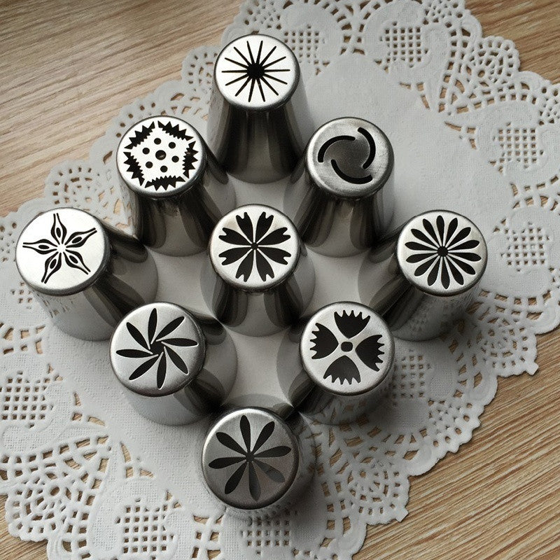 9PCS Icing Piping Bag Coupler Cake Decorating Nozzle Converter Tools